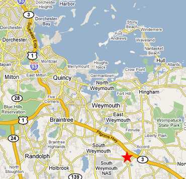Map of Boston area with Rockland office as red star